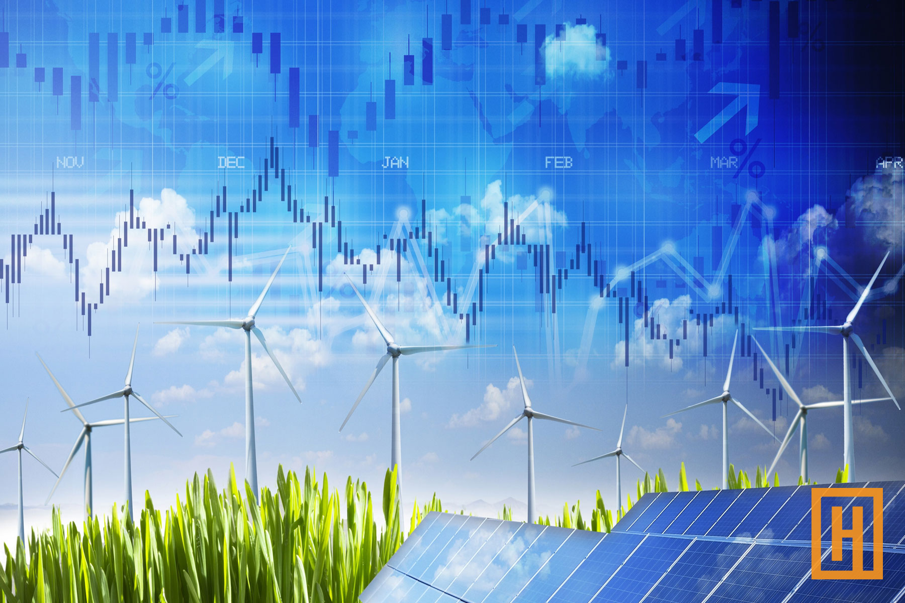 sustainable energy image blended with stock market graph trends